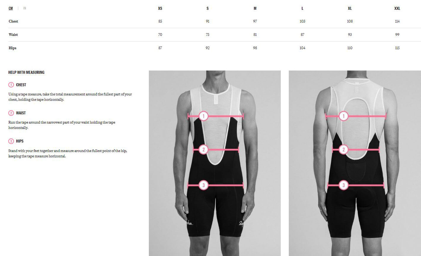 Rapha Men's Apparel Size Chart