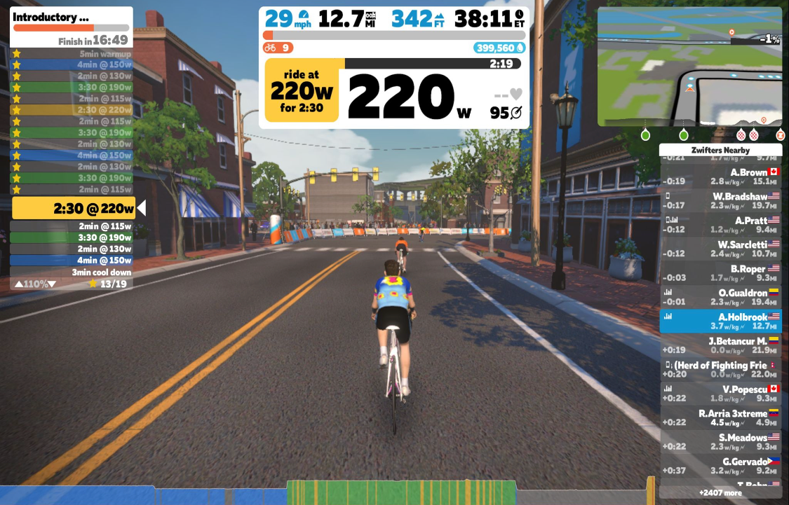Zwift riding with Contender Bicycles