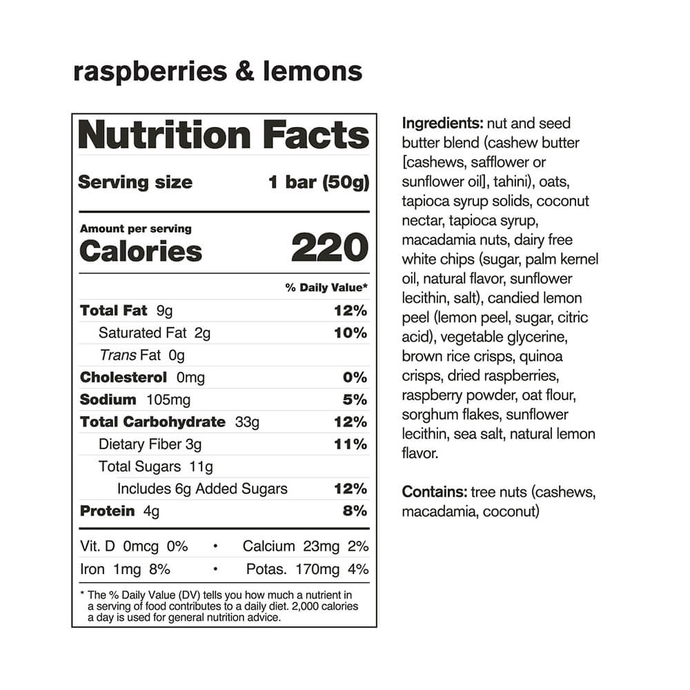 Skratch Labs Anytime Bar Raspberry Lemons Nutrition Facts