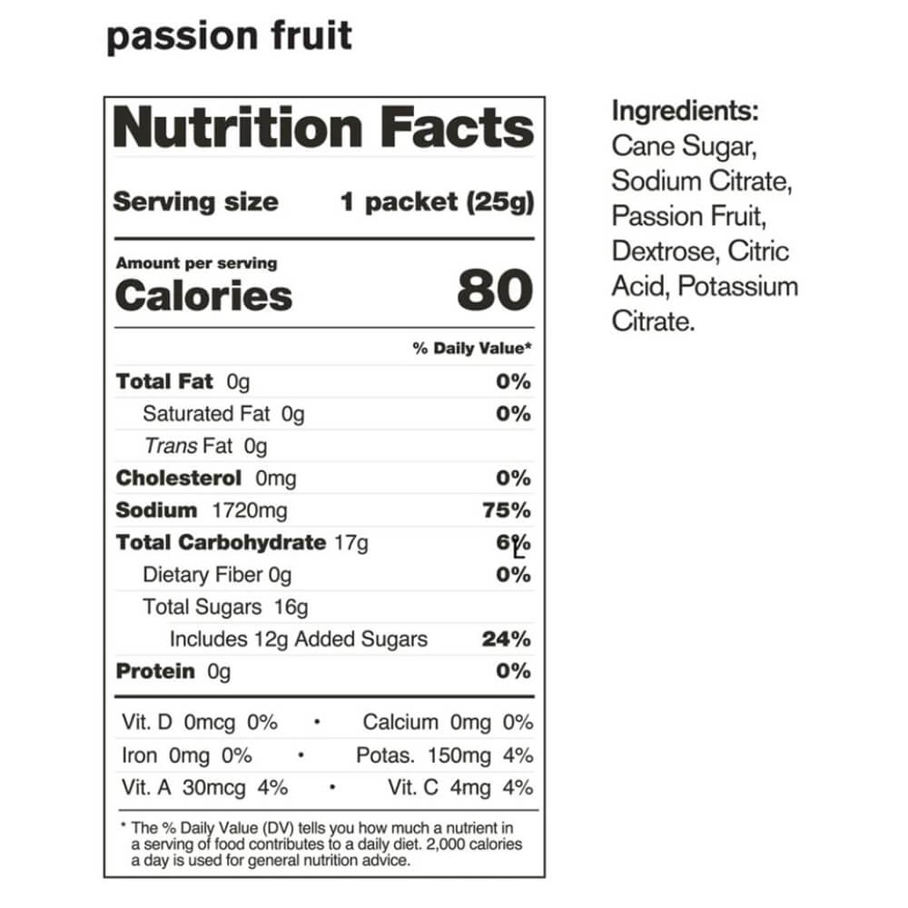 Skratch Labs Hyper Hydration Passion Fruit Nutrition Facts