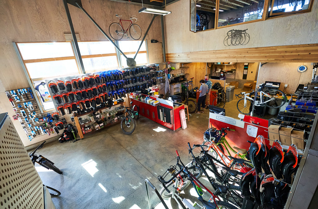 Service floor at Contender Bicycles