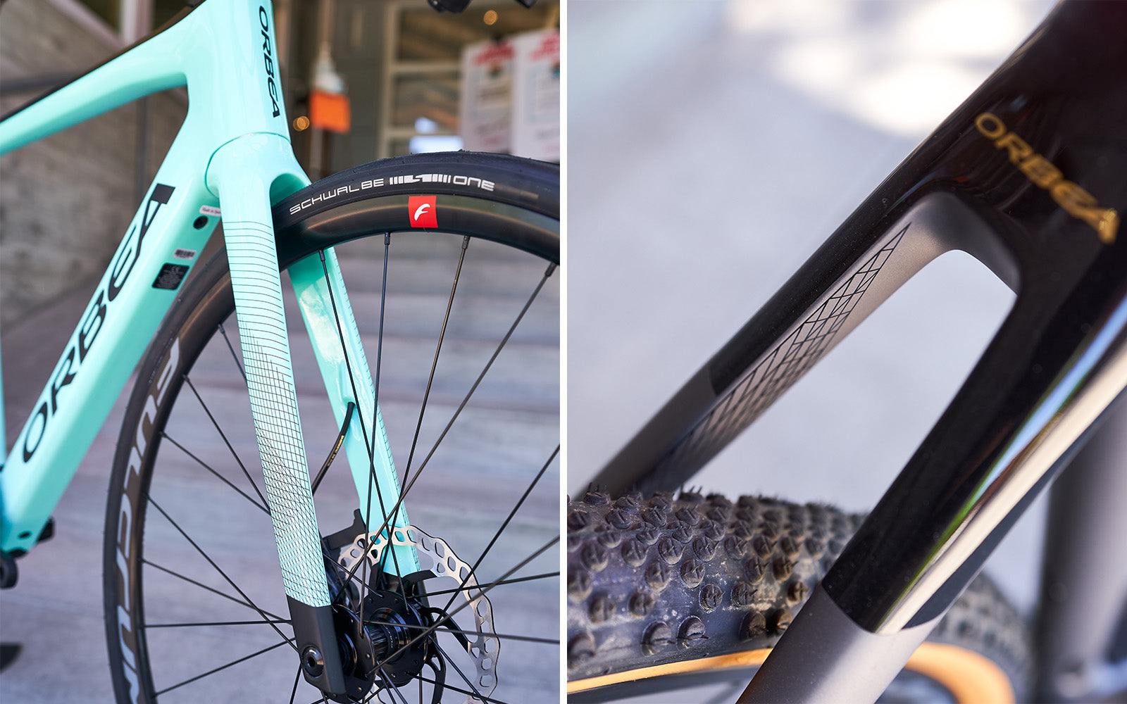 Orbea Gain Review - front and rear paint detail comparison