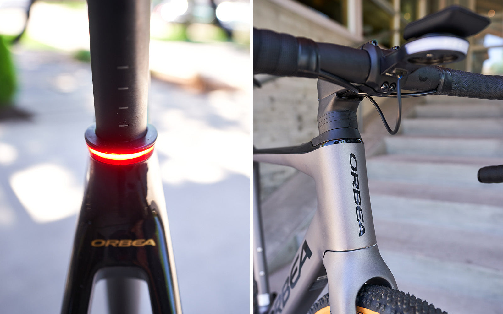 Orbea Gain Review - front and rear light comparison