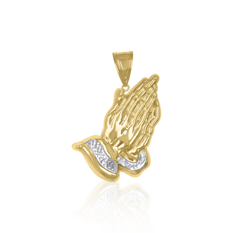 10kt Gold Two-Tone Diamond-Cut Mens Praying Hands  Religious Charm Pendant - Drip Brother