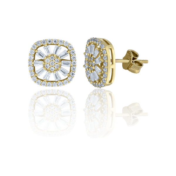 10kt Yellow Gold Womens Round & Baguette Cubic Zirconia Square Stud Earring