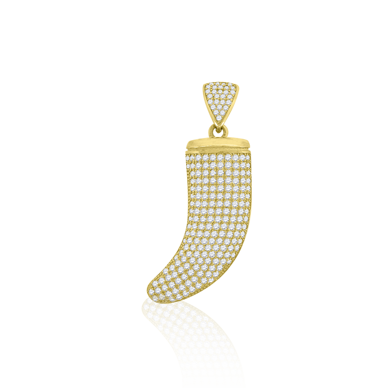 10kt Yellow Gold Cubic-Zirconia Mens Tusk Shape Luck Charm Pendant - Drip Brother