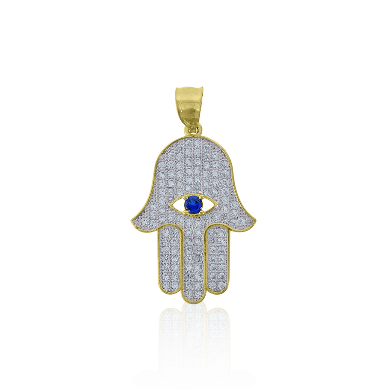 10kt Two-Tone Gold Mens Cubic-Zirconia Religious Hamsa Charm Pendant - Drip Brother