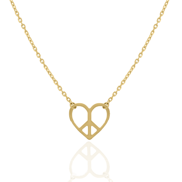 14kt Yellow Gold Womens Polished Finish Peace Heart Necklace Size 18 Inches