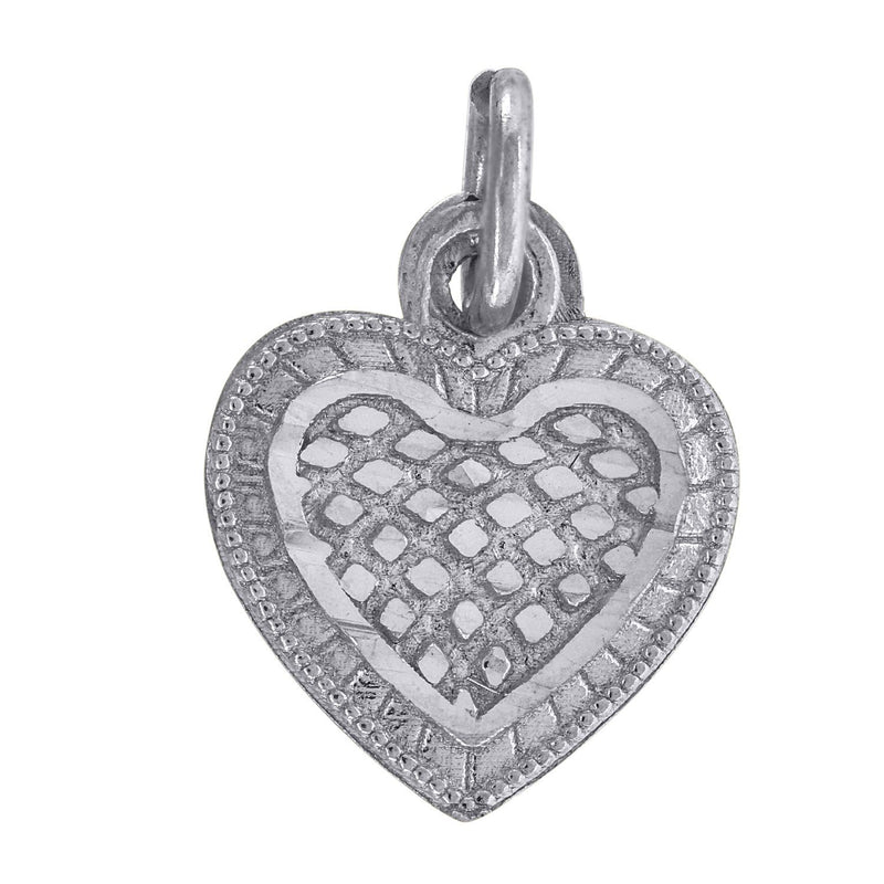 10kt White Gold Womens Textured Love Heart Charm Pendant - Drip Brother