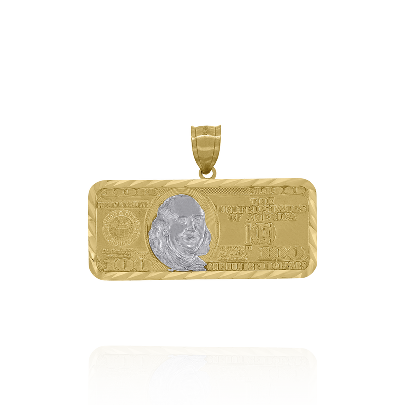 10kt Two-Tone Gold Mens 100 Dollar Bill Currency Diamond Cut Pendant - Drip Brother