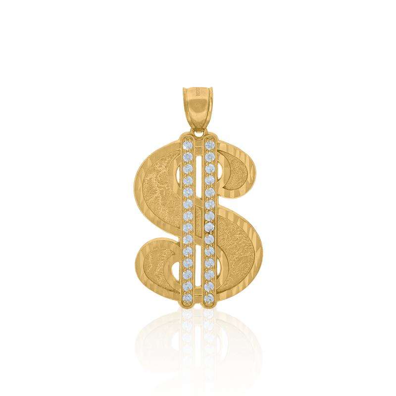 10kt Yellow Gold Mens Cubic Zirconia Dollar Sign Charm Pendant - Drip Brother