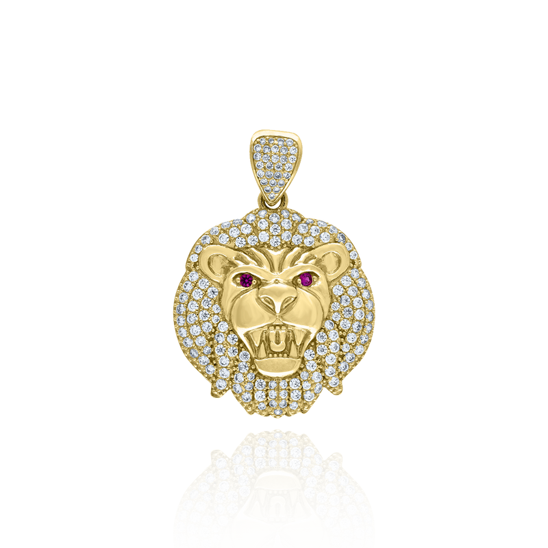 10kt Yellow Gold Mens White Pink Cubic Zirconia Lion Head Charm Pendant - Drip Brother