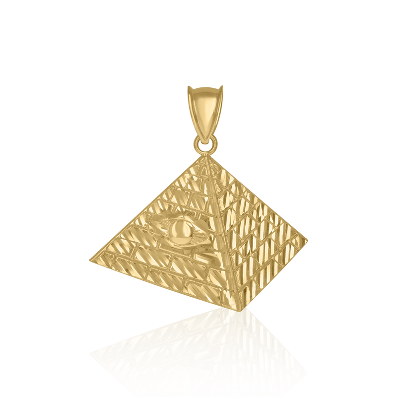 10kt Yellow Gold Mens Pyramid Evil Eye Egyptian Charm Pendant - Drip Brother