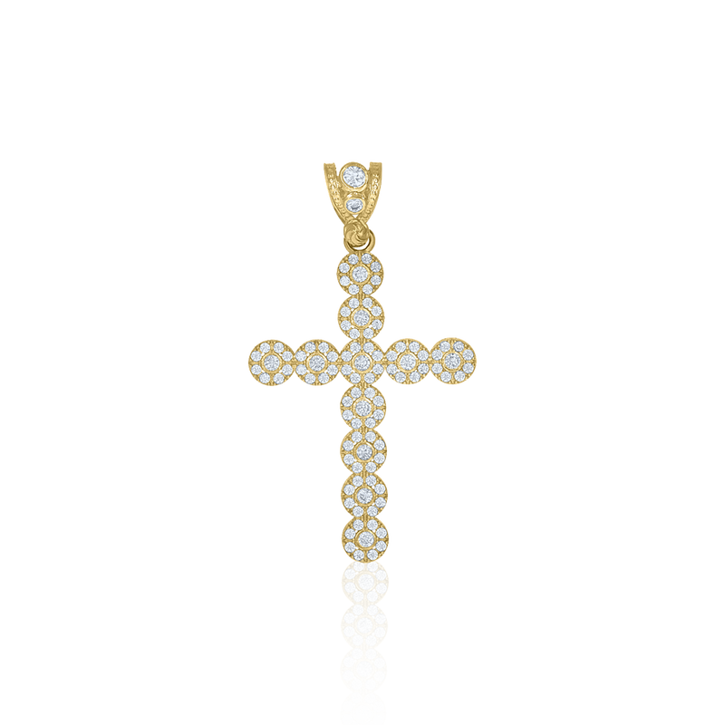 10kt Yellow Gold Mens Cubic Zirconia Cross Religious Charm Pendant - Drip Brother