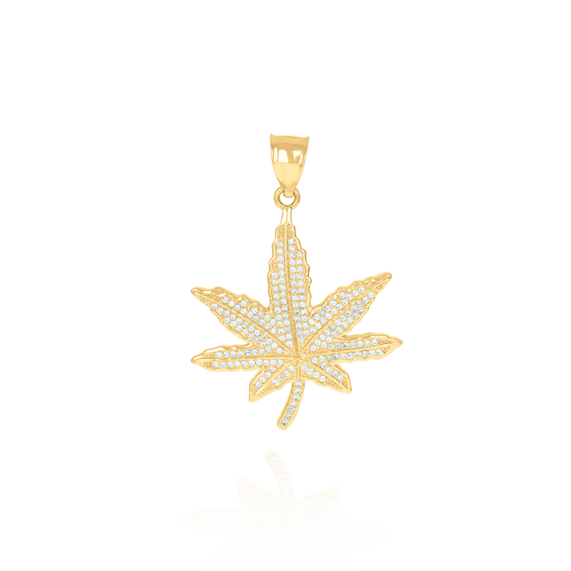 10kt Yellow Gold Mens Cubic-Zirconia Fashion Marijuana Leaf Charm Pendant - Drip Brother