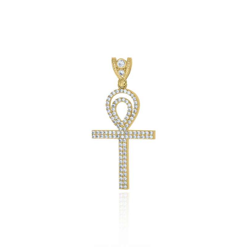 10kt Yellow Gold Mens Cubic Zirconia Egyptian Ankh Cross Religious Charm Pendant - Drip Brother