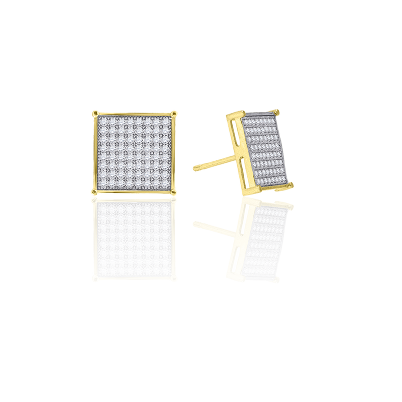 10kt Gold Two-Tone CZ Mens Square 11mm Push Back Studs - Drip Brother