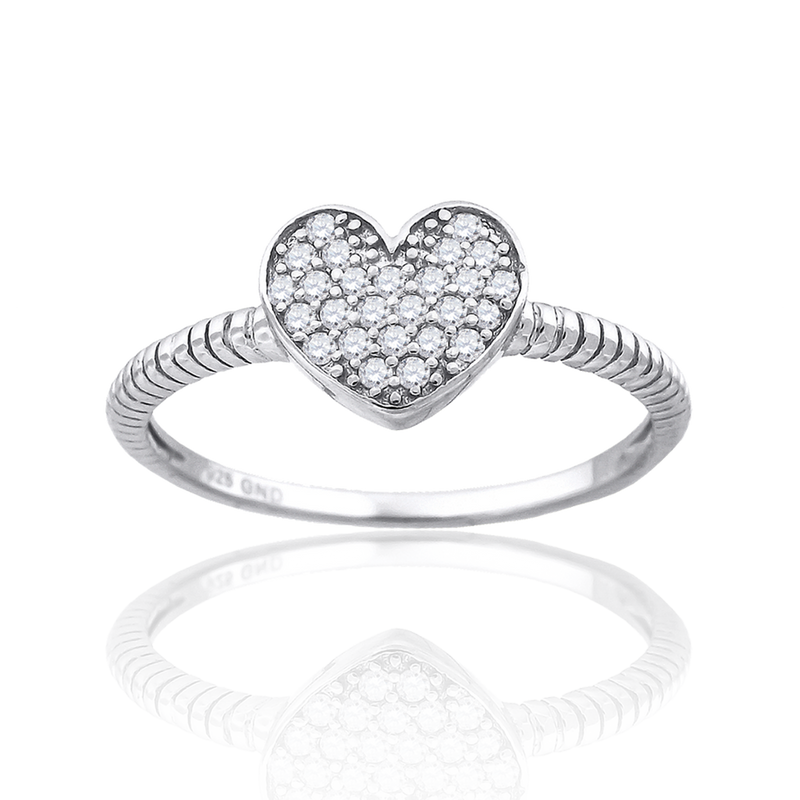 925 Sterling Silver Womens Cubic-Zirconia Heart Ring