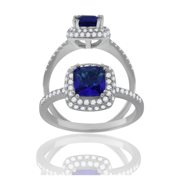 925 Sterling Silver Womens Royal Blue Cubic Zirconia Halo Ring