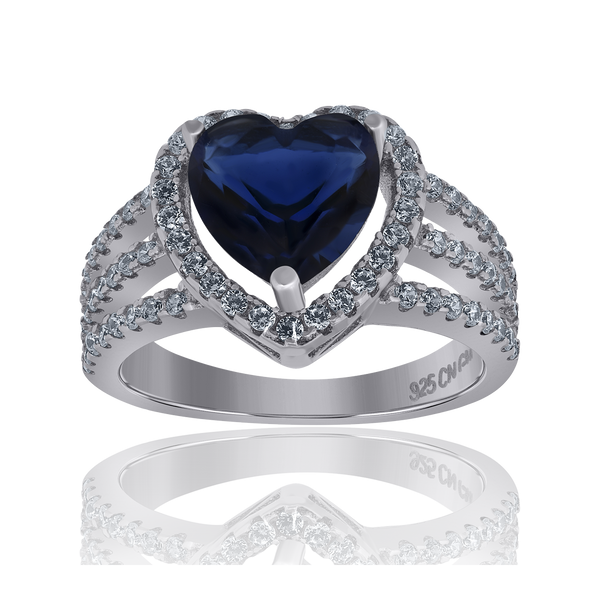 925 Sterling Silver Womens Royal Blue Cubic Zirconia Heart Ring