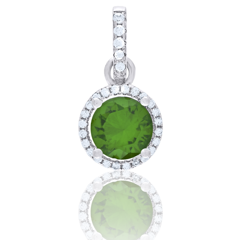 925 Sterling Silver Womens Green White Cubic-Zirconia Charm Pendant