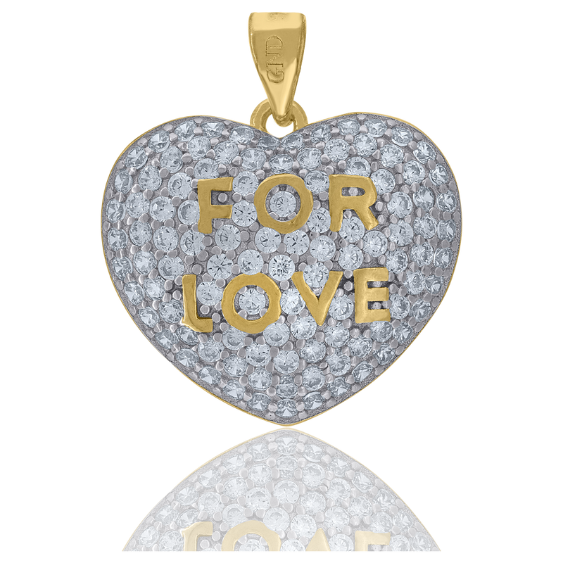 925 Sterling Silver Yellow-Tone Womens CZ FOR LOVE Heart Charm Pendant