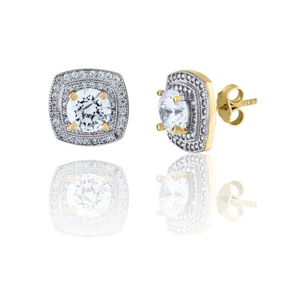 10kt Two-Tone Gold CZ Womens Polished Finish Square Push Back Stud Earrings - Drip Brother