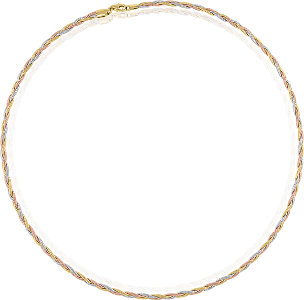 14kt Tri-color Gold Womens Polished Finish Textured Twisted Braided Necklace Size 18 Inches