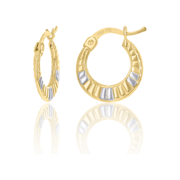 10kt Gold Two-Tone Womens 13.6mm Hinged Hoops Huggies - Drip Brother