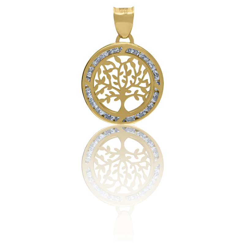 14kt Yellow Gold Unisex CZ Tree Of Life Charm Goodluck Pendant