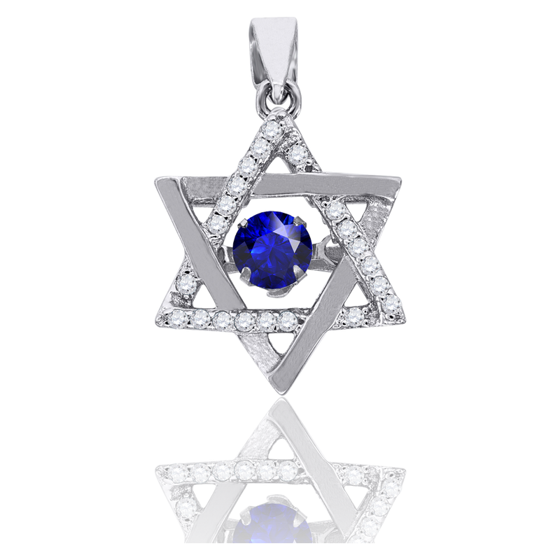 925 Sterling Silver Womens Royal Blue Cubic Zirconia Star Of David Charm Pendant