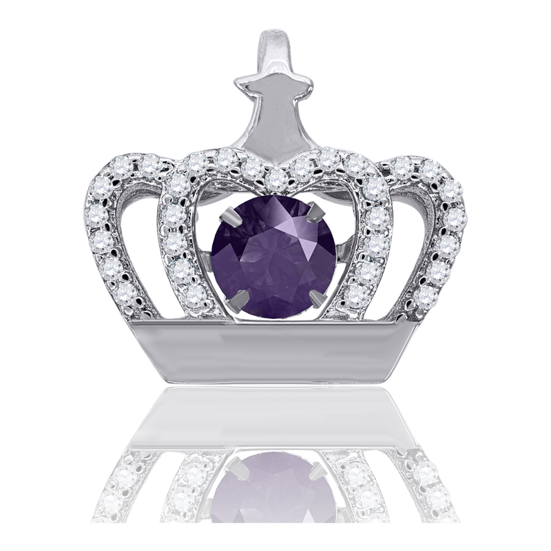 925 Sterling Silver Womens Purple Cubic Zirconia Fashion Crown Charm Pendant
