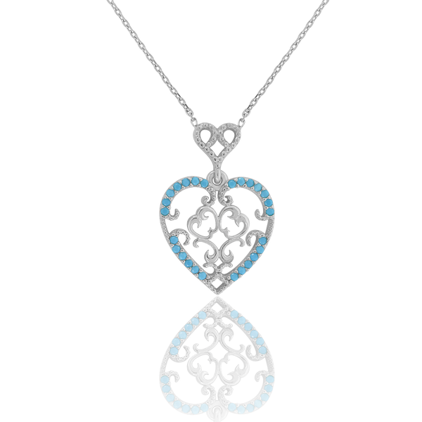 925 Sterling Silver Women Turquoise Cubic Zirconia Rolo Link Love & Hearts Heart Necklace