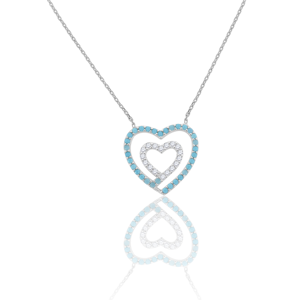 925 Sterling Silver Women Turquoise & White Cubic Zirconia Rolo Link Heart Necklace