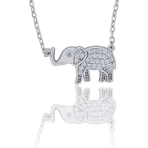 925 Sterling Silver Women Cubic Zirconia Rolo Link Elephant Necklace