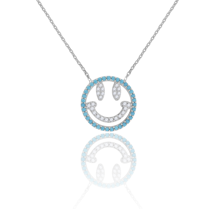 925 Sterling Silver Women Turquoise & White Cubic Zirconia Rolo Link Fashion Smiley Necklace