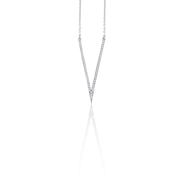 925 Sterling Silver Women Cubic Zirconia Fashion V Shape Necklace