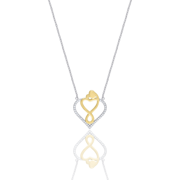 925 Sterling Silver Yellow-Tone Women Cubic Zirconia Rolo Link Mom Mother Child Necklace