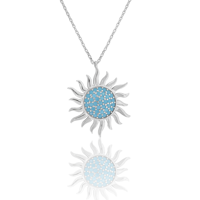 925 Sterling Silver Women Turquoise Cubic Zirconia Rolo Link Nautical Sun Necklace
