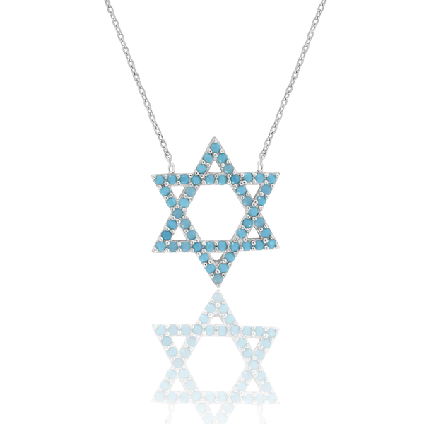 925 Sterling Silver Women Turquoise Cubic Zirconia Rolo Link Star Of David Necklace