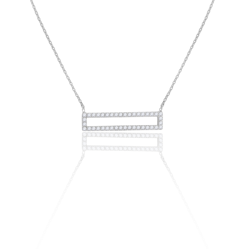 925 Sterling Silver Women Cubic Zirconia Rolo Link Rectangle Necklace