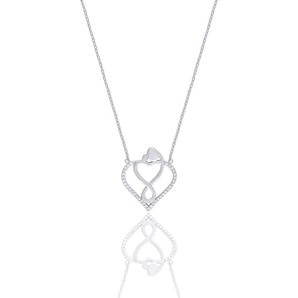 925 Sterling Silver Women Cubic Zirconia Rolo Link Mother Child Necklace