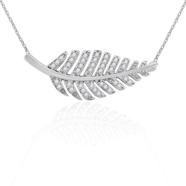 925 Sterling Silver Women Cubic Zirconia Rolo Link Nature Inspired Necklace