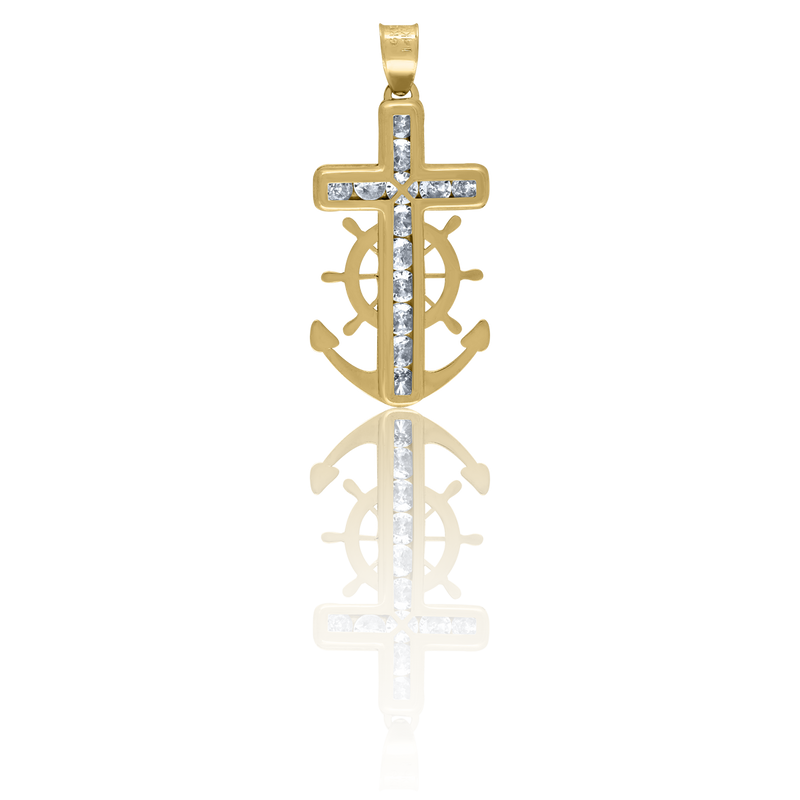 14kt Yellow Gold Unisex CZ Anchor Cross Religious Charm Pendant