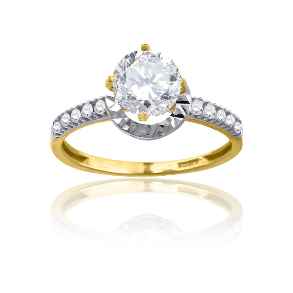 10kt Two-Tone Gold Womens Cubic Zirconia Dc Halo Engagement Ring - Drip Brother