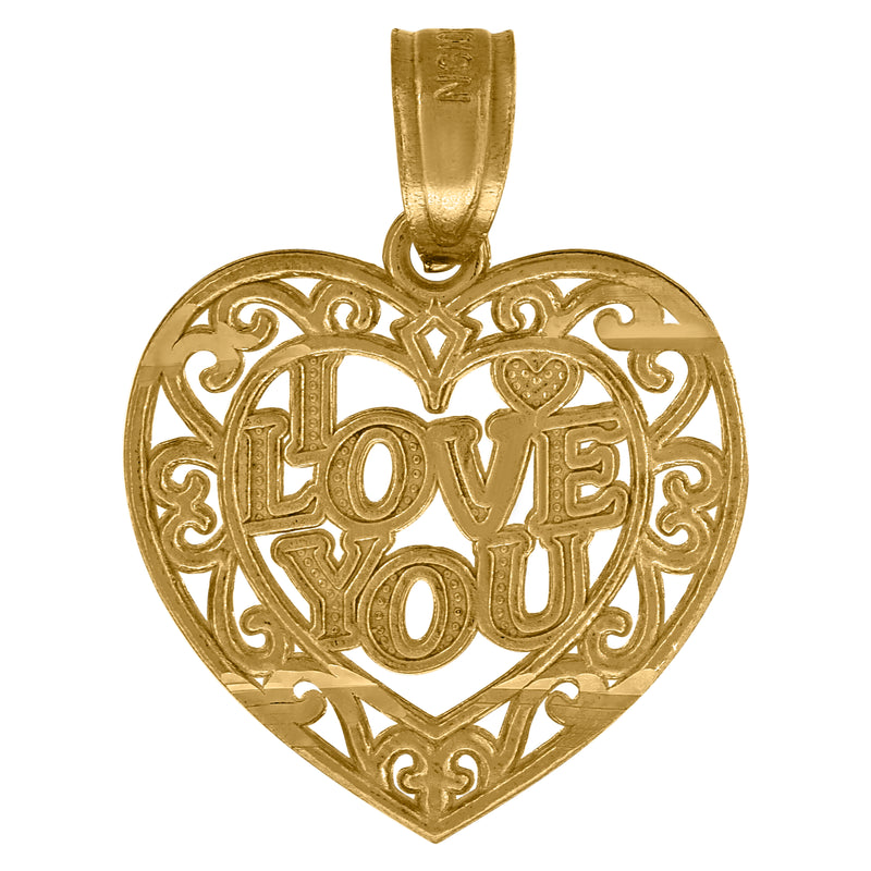 10kt Yellow Gold Womens Filigree I Love You Heart Charm Pendant