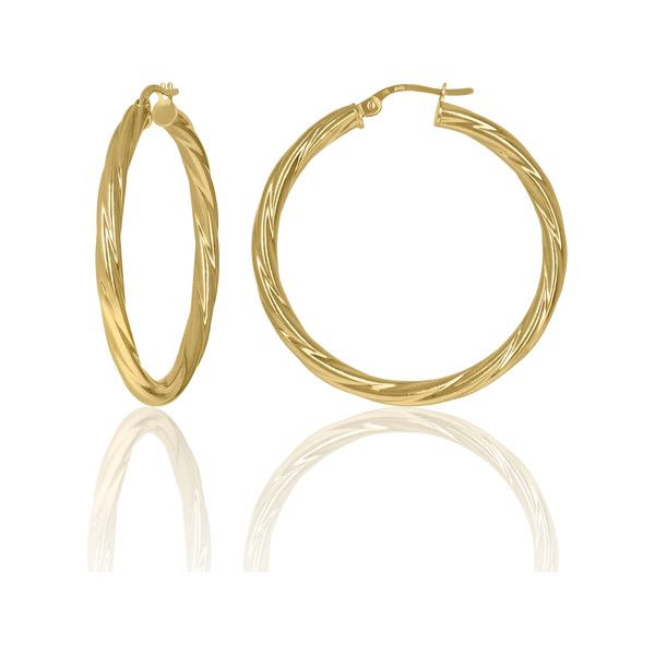10kt Yellow Gold Womens Twisted Tube 30mm X 3mm Hinged Hoops Huggies