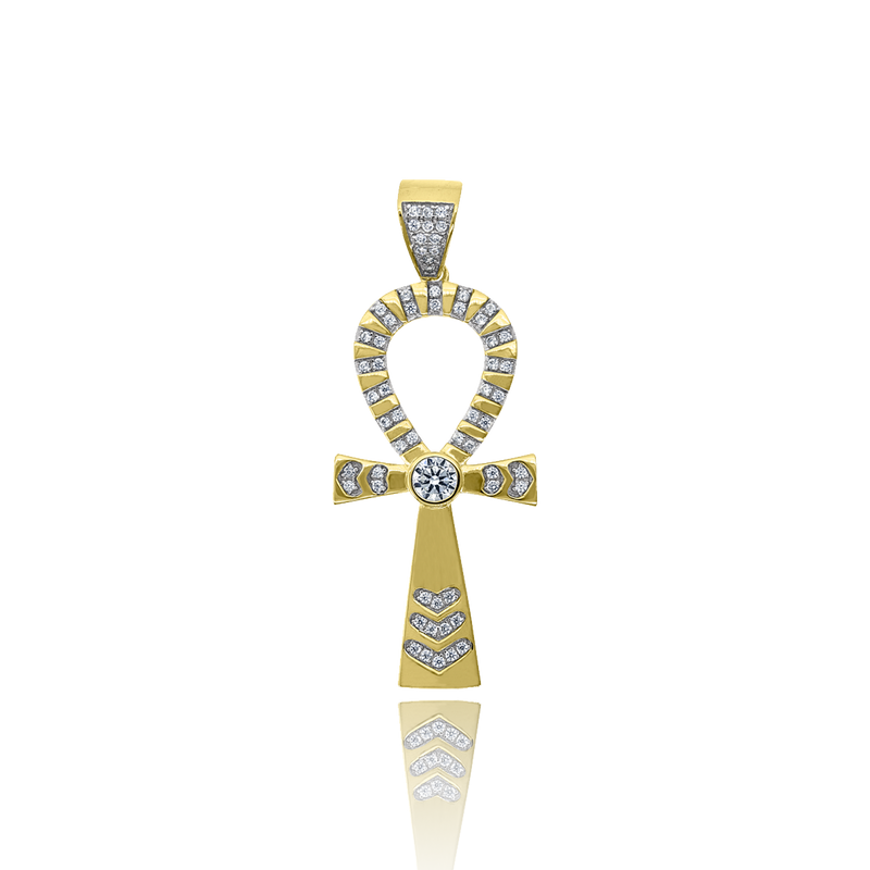 925 Sterling Silver Yellow-Tone Men CZ Ankh Cross Religious Charm Pendant - Drip Brother