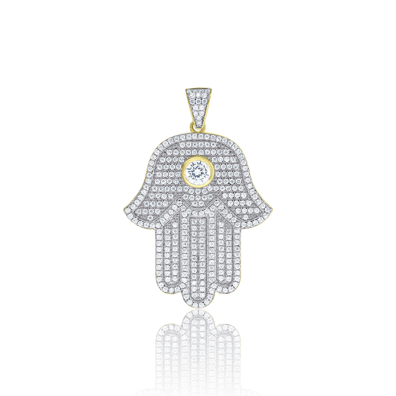 925 Sterling Silver Yellow-tone Mens Cubic Zirconia Religious Hamsa Charm Pendant - Drip Brother