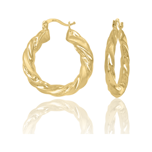 10kt Yellow Gold Womens Twisted Hinged Hoops Huggies